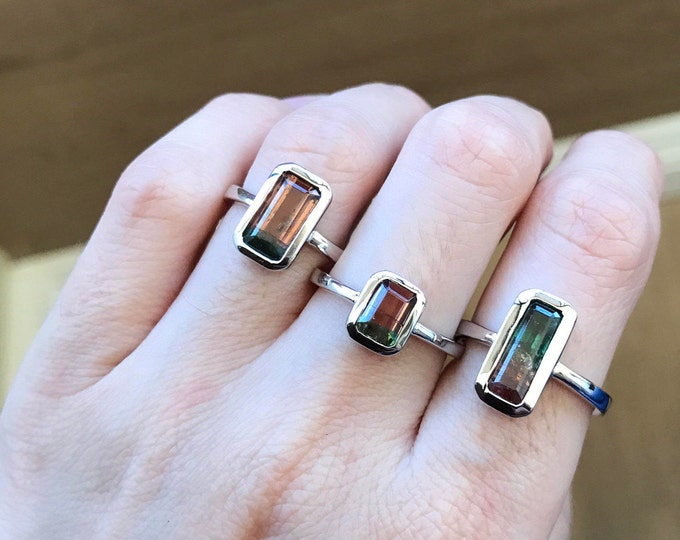 Watermelon Tourmaline Bar Ring- Tourmaline Statement Sterling Silver Ring- October Birthstone Ring- Unique Rectangle Gemstone Ring