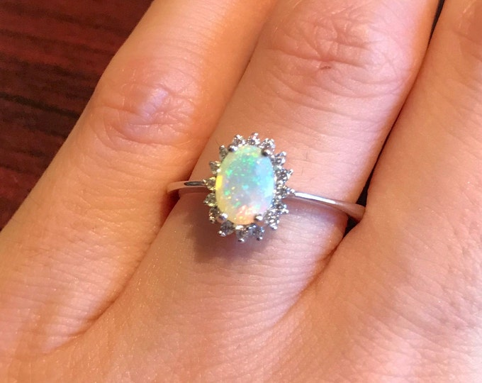 Oval Opal Halo Engagement Ring- Genuine Opal Promise Ring- Fire Opal Anniversary Ring- Solitaire Welo Opal Ring- October Birthstone Ring