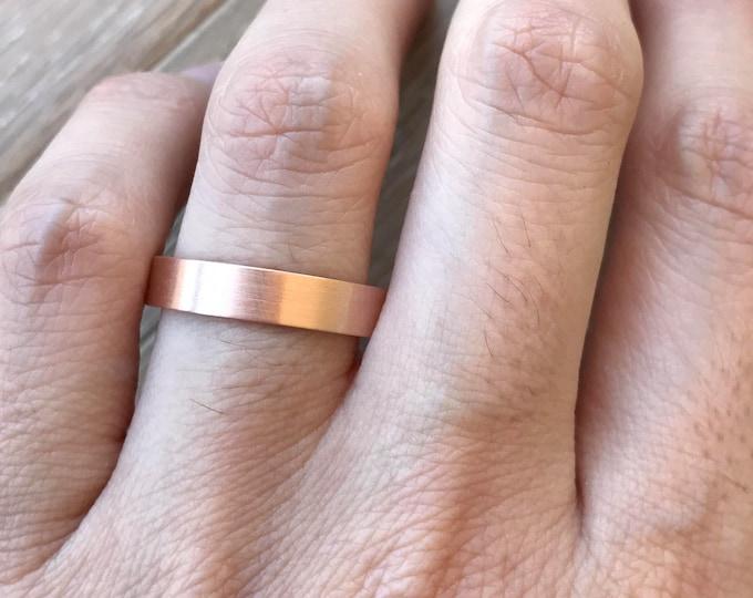14k Rose Gold Band- Rose Gold Wedding Band- 4mm Unisex Wedding Band- His Her Wedding Band- Simple Wedding Band- Men Woman Wedding Band