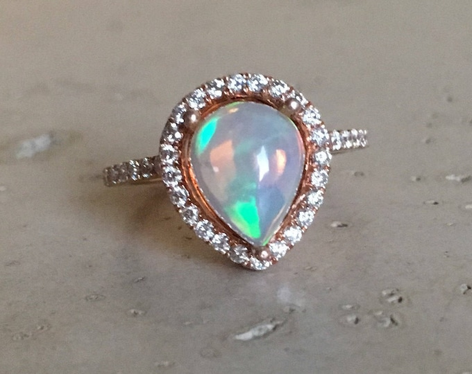 Halo Opal Engagement Ring- Rose Gold Opal Engagement Ring- Pear Shape Fire Opal Engagement Ring- Unique Engagement Ring- Opal Promise Ring