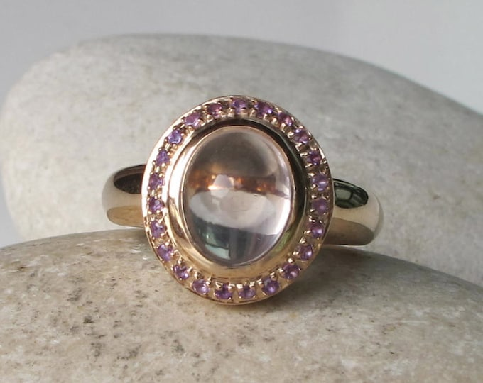 Rose Gold Engagement Ring- Oval Promise Ring- Unique Couple Ring- Halo Rose Quartz Ring- Solitaire Anniversary Ring