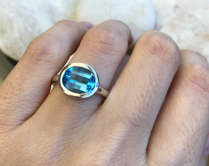 East West Statement Ring- Fancy Cut Solitaire Ring- Oval Blue Topaz Promise Ring- Bezel Blue Gemstone Ring- Sterling Silver Solitaire Ring