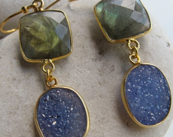 Labradorite Druzy Long Earring- Two Stone Statement Earring- Iridescent Dangle Earring- Unique Gemstone Earring- Colorful Festival Earring