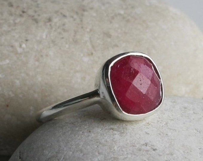40% OFF SALE Square Shape Ruby Ring- Stackable Raw Ruby Ring- Minimalist Simple Genuine Ruby Ring- July Birthstone Ring- Red Sterling Silver