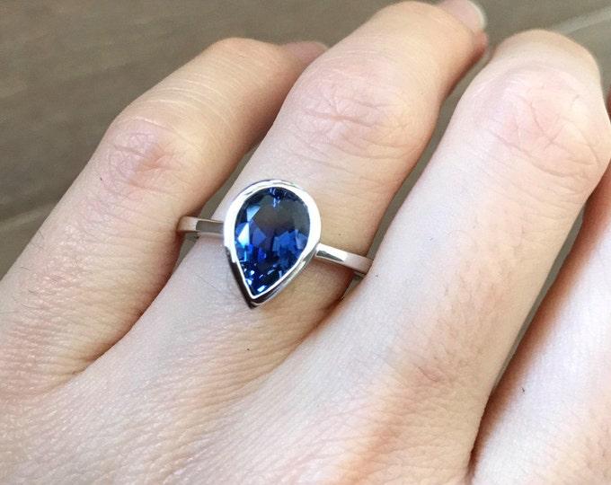 Pear Sapphire Engagement Ring- Simple Blue Sapphire Promise Ring- Dark Blue Gemstone Ring- September Birthstone Ring- Minimalist Classic