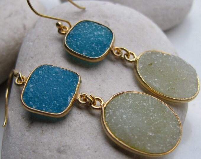 Green Blue Druzy Dangle Earring- Two Druzy Drop Statement Earring