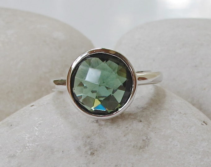 Round Green Quartz Ring- Stackable Dark Green Topaz Ring- Statement Green Stone Ring- Solitaire Sterling Silver Ring-