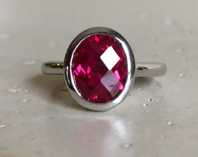 Lab Created Ruby Ring- Oval Ruby Ruby Ring- Gemstone Ring- Faceted Ring- Red Gemstone Ring- Promise Ring- Solitaire Ring