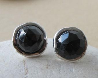 Black Onyx Stud- Round Black Earring- Simple Black Stone Earring- Classic Sterling Silver Earring