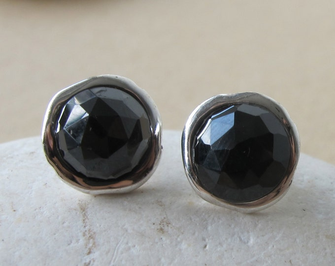 Black Onyx Stud- Round Black Earring- Simple Black Stone Earring- Classic Sterling Silver Earring