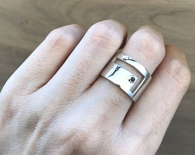 Geometric Statement Wide Band- Minimalist Cigar Band Ring- Gifts for Men Him- Sterling Silver Contemporary Ring- Unisex Men Woman Band Ring