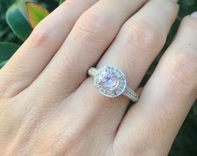 Pink Morganite Halo Women Engagement Ring- Round Morganite Promise Ring for Her- Pink Alternative Gemstone Engagement Ring