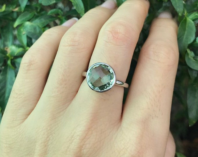 Green Amethyst Ring Simple  Round Amethyst Ring- Green Stackable Ring- February Birthstone Ring- Sterling Silver Minimal Boho Ring