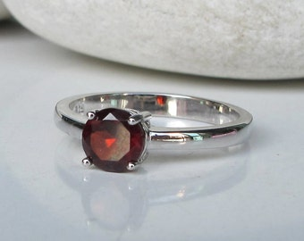 Genuine Garnet Ring Stackable Garnet Ring- Janauary Birthstone Ring- Red Gemstone Ring- Round Prong Red Ring-  Simple Sterling Silver Ring