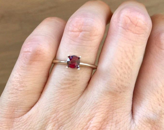 Red Spinel Engagement Ring- Red Gemstone Engagement Ring- Dainty Simple Engagement Ring-White Gold Minimal Ring-Alternative Anniversary Ring