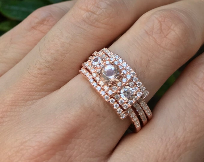 Morganite Rose Gold Vintage Ring- Morgantite Bridal Engagement Deco Ring Set- Round Morganite 3 Stone Anniversary Ring- Pink Gemstone Ring