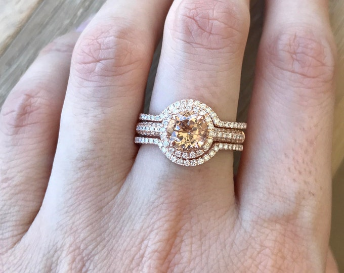 Rose Gold Morganite Ring Set- Halo Morganite Engagement Ring Set- Round Morganite Diamond Bridal Set- 3 Piece Rose Gold Ring Sets