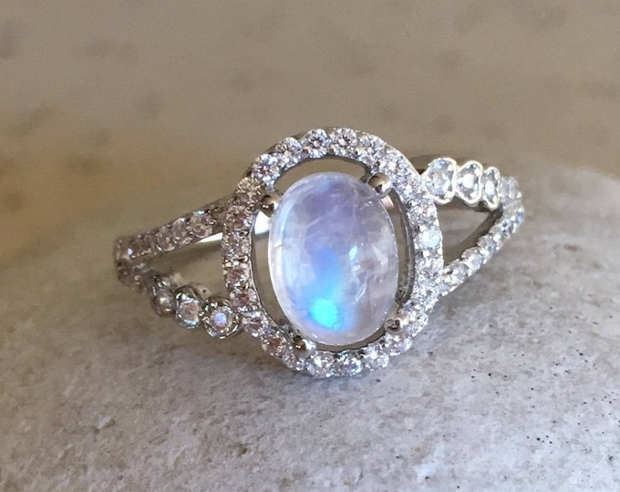 Halo Engagement Moonstone Ring- Oval Moonstone Promise Ring- DecoSolitaire Moonstone Ring-June Birthstone Ring-Double Shank Anniversary Ring