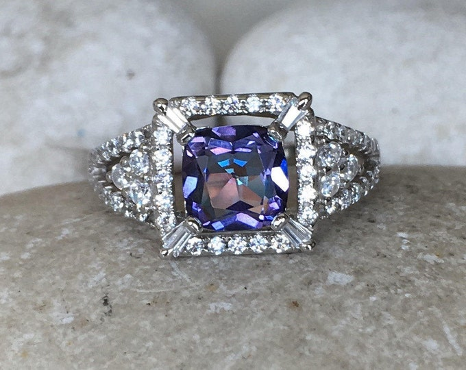 Mystic Topaz Engagement Ring- Deco Square Halo Solitaire Ring- Square Gemstone Engagement Ring- Purple Blue Anniversary Split Ring