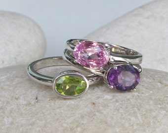 October, February and August Birthstone Ring- Stack Ring- Pink Topaz Ring- Peridot Ring- Amethyst Ring- Mothers Ring- Gemstone Ring- Ring