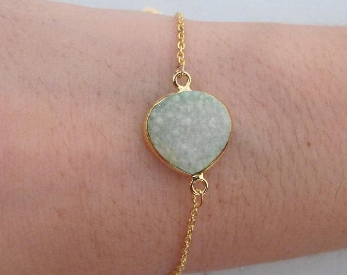 Druzy Bracelet Gold Rough Stone Teardrop Raw Green Simple Minimal Bracelet Boho
