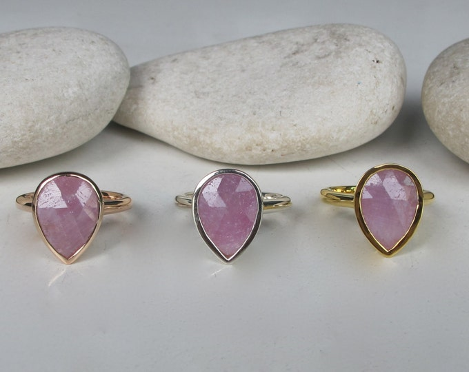 Pink Sapphire Raw Engagement Ring- Raw Sapphire Rose Gold Ring- Rough Stone Pink Promise Ring- Large Pink Solitaire Alternative Ring