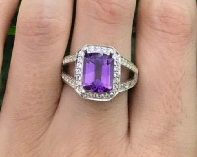 2.44ct Purple Amethyst Rectangle Solitaire Ring- Emerald Cut Amethyst Split Band Engagement Halo Ring- Purple Gemstone Ring- February Ring
