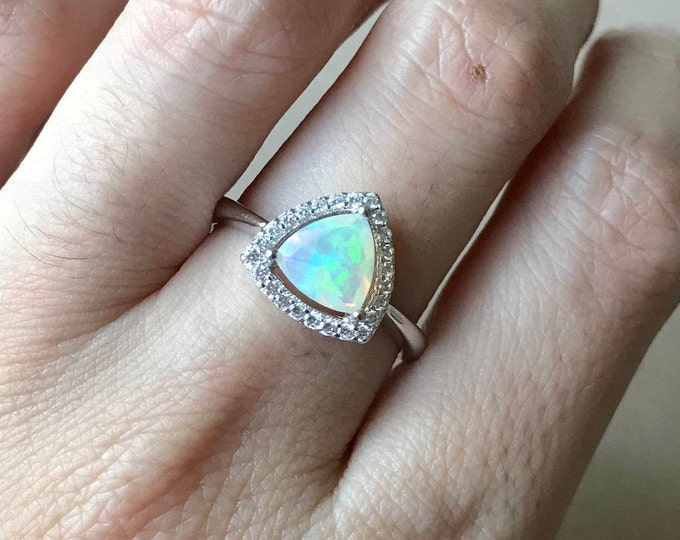 Triangle Opal Engagement Ring- Genuine Opal Promise Ring- Halo Opal Anniversary Ring- Solitaire Silver Opal Ring- October Boho Ring-