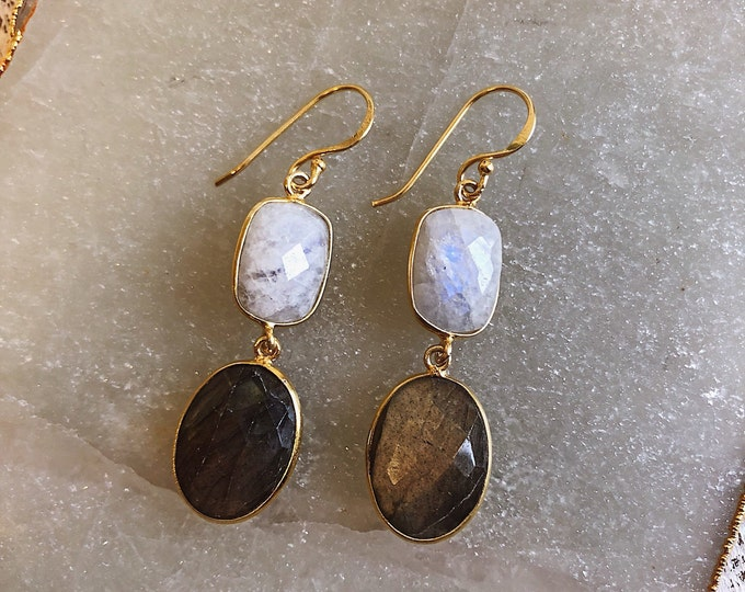 Bohemian Raw Moonstone Labradorite Dangle Earring- Two Stone Long Drop Earring- Boho Gemstone Jewelry for Her- Handmade Raw Earring