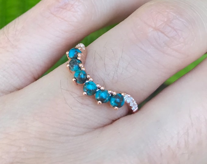Turquoise Wedding Band Woman- Wedding Band Genuine Turquoise Contour Ring- Curve Stack Rose Gold Ring- White Gold Gold Turquoise Band