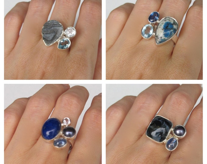 Boho Ring Silver Multistone Genuine Natural Cluster Set Gemstone Sterling Silver Druzy Jasper Kyanite Pearl Agate Crystal Ring Custom Sizing