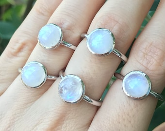Milky Moonstone Ring Round Silver Sterling Boho