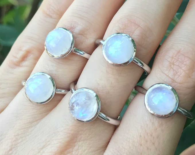 Milky Moonstone Ring Round Silver Sterling Boho