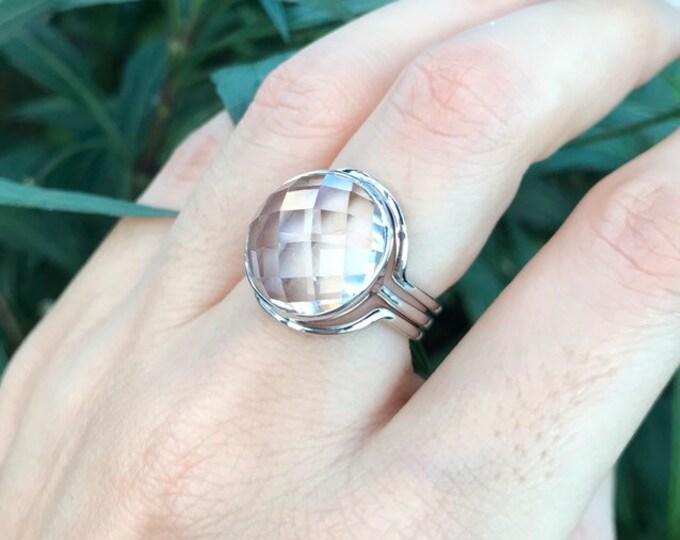 Rose Cut White Quartz Bridal Ring Set- Women Coloress Gemstone Round Engagement Ring Set- Alternative Diamond Solitaire Large Clear Ring