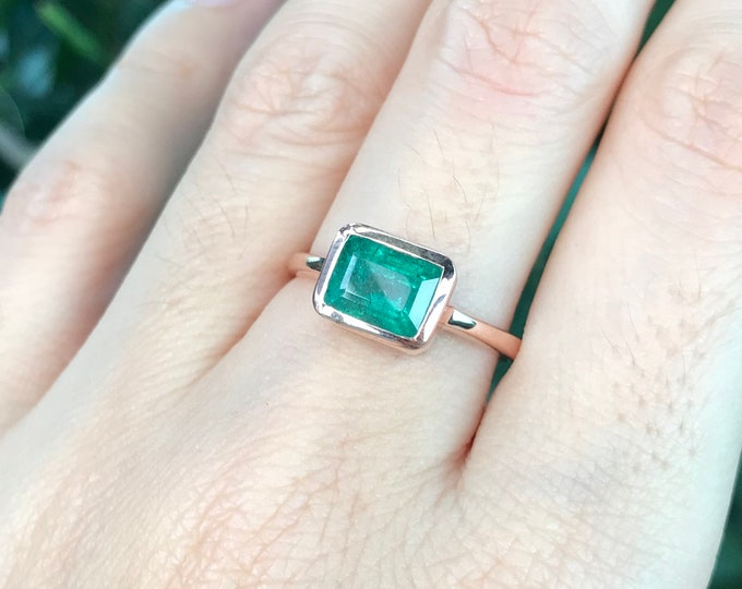 Dark Green Emerald Rose Gold Ring- Rectangle Genuine Emerald Minimalist Ring- Simple East West Solitaire Green Ring- May Birthstone Ring