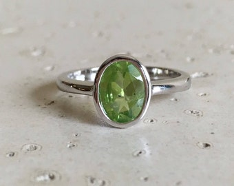 Peridot Ring Oval Simple Silver Genuine August Birthstone