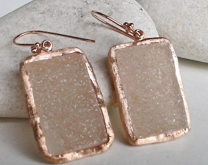 Rose Gold Druzy Earring Real- Dangle Drop Raw Earring- Rectangle Boho Statement Earring- Raw Crystal Earring-Rough Gemstone Handmade Earring