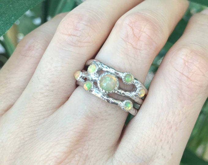 Genuine Opal Wedding Band Rustic-Wide Band Fire Welo Natural Opal- Cluster Opal Branch Wedding Band- Nature Inspired Mulitstone October Ring