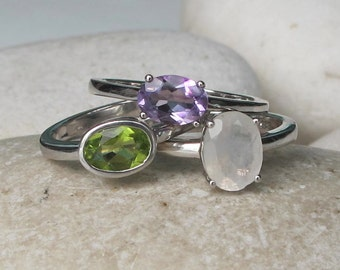 June, February and August Birthstone Ring- Stack Ring- Moonstone Ring- Peridot Ring- Amethyst Ring- Mothers Ring- Gemstone Ring- Gift Ideas