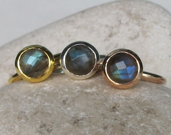 Gold Labradorite Ring Rose Gold Faceted Small Stack Boho Simple Minimalist Sterling Silver 925 Bohemian Iridescent Ring All Sizes 9 10