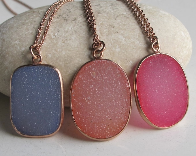 Druzy Necklace Rose Gold Raw Natural Rough Stone Necklace