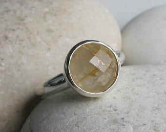 Rutilated Quartz Ring- Rutile Quartz Solitaire Ring- Round Gold Quartz Ring- Sterling Silver Gemstone Ring- Faceted Sterling Silver Ring