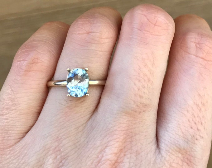 Simple Aquamarine Engagement Ring- Prong Aquamarine Promise Ring- Aquamarine 4 Prong Ring- Solitaire March Birthstone Ring- Aqua Ring