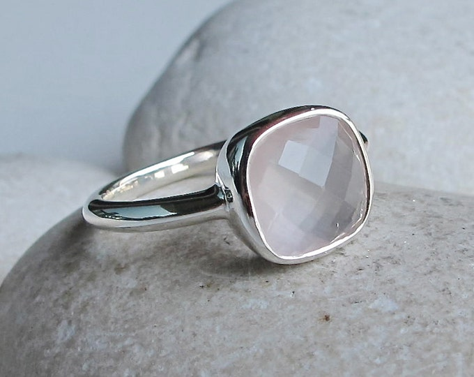 Rose Quartz Square Ring- Simple Pink Stack Ring- Minimalist Pink Quartz Ring- October Birthstone Ring- Pink Topaz Gemstone Ring