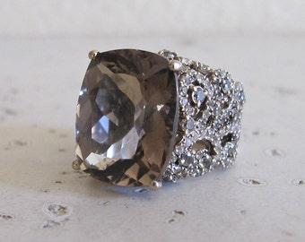 Smoky Quartz Statement Ring- Large Brown Gemstone Engagement Ring- Artisan Designer Ring- Rectangle Filigree Anniversary Ring- Handmade Ring