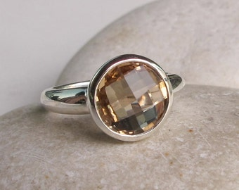 Champagne Citrine Ring- Stack Minimalist Yellow Ring- November Birthstone Ring- Round Gemstone Ring- Simple Sterling Silver Ring