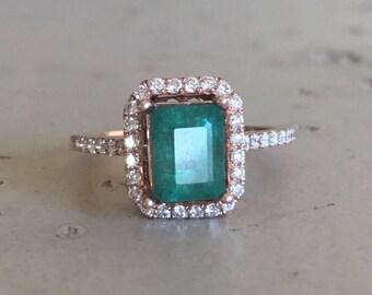 Emerald Shape Emerald Engagement Ring 14k Rose Gold Halo Diamond Green Emerald Bridal Ring Wedding Ring Solitaire Genuine Emerald Ring