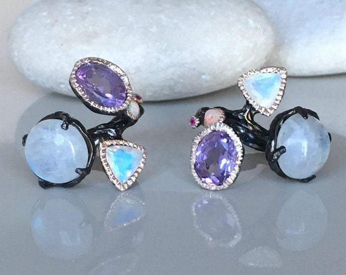 Gothic Multistone Large Statement Gothic Ring- Wide Black Stone Ring- Bohemian Punk Ring- Moonstone Opal Amethyst Ring Mermaid Mystic Ring