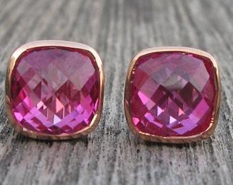 Rose Gold Stud Earring- Square Pink Stud Earring- Pink Quartz Earring- Fuschia Pink Earring- Pink Topaz Stud- Minimalist Stud Earring