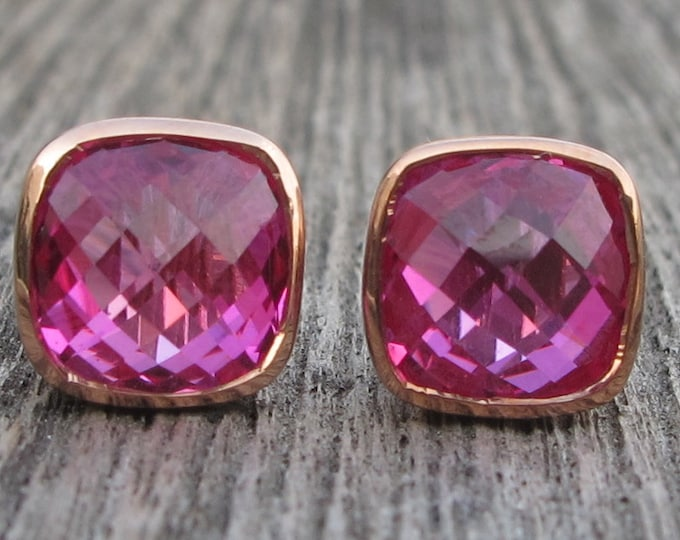 Fuschia Square Stud Earring- Pink Topaz Bezel Earring- Pink Quartz Bezel Earring- Rose Gold Pink Stone Earring- Cushion Hot Pink Earring